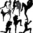 Muay Thai (Thai Boxing) vector silhouettes - Stock Vector
