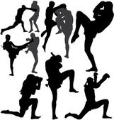 Muay Thai (Thai Boxing) vector silhouettes — Vector de stock