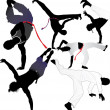 Capoeira fighter or breakdancer vector silhouettes - Stock Vector