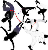 Capoeira fighter vector silhouettes on white background. Layered. Fully editable — Stock Vector