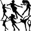 Figure skating vector silhouettes set on white background - Stock Vector