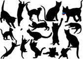 Cat and kitten vector silhouette on white background. WIth moustaches. Saved in EPS 10. Layered. Fully editable — Stock Vector