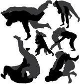 Jujitsu (jiu-jitsu) vector silhouettes — Stock Vector