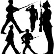 Soldiers marching and sentry guard vector silhouettes - Stock Vector