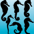 Seahorse vector silhouettes. Layered and fully editable. — Stock Vector