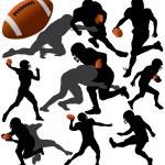 American Football Vector Silhouettes. Layered. Fully Editable. — Stock Vector