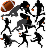 American Football Vector Silhouettes. Layered. Fully Editable. — Stock Vector