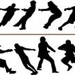 Tug of war or rope pulling vector silhouettes. Editable - Stok Vektör