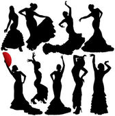 Women dancing flamenco and salsa vector silhouettes set. Layered. Fully editable. — Stock Vector