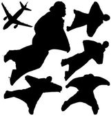 Wingsuit skydivers and plane vector silhouettes. Layered and fully editable — Stock Vector
