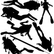 Scuba diver and speargun vector silhouettes - Stock Vector