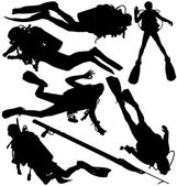 Scuba diver and speargun vector silhouettes. Layered and fully editable — Stock Vector