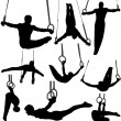 Gymnastics Rings Silhouettes — Stock Vector