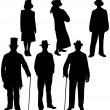 Gentleman and lady silhouettes - Stockvektor
