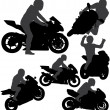 Motorcycle rider silhouettes set — Stock Vector #23885283