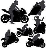 Motorcycle rider silhouettes set — Stock Vector