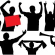 Cheering crowd or sports fans silhouettes. Raster version — Stock Photo