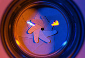 Camera shutter aperture blades — Stock Photo