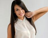 Beautiful woman with long black hair — Stock Photo