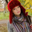 Portrait of a beautiful woman wearing woolen accessories — Stock Photo
