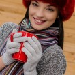 Beautiful womhaving hot tein winter time — Stock Photo #16995085