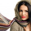 Stock Photo: Sexy young brunette girl with scarf.