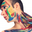 Beautiful young man painted on the face — Stock Photo