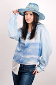 Beautiful woman wearing a hat — ストック写真