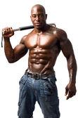 Black bodybuilder training with a bendy bar. Man showing his perfect muscles. Isolated on white background — Stock Photo