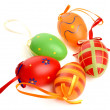 Hand painted easter eggs on white background. Isolated on white — Stock Photo