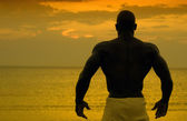 Silhouette of bodybuilder posing at the sunrise on the beach, training in the morning, strong man showing his muscles — Stock Photo