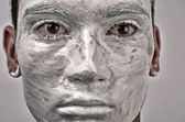 Man face painted with expression, man looing like a statue — Stock Photo