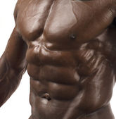 Close up on perfect abs. Strong bodybuilder with six pack and perfect chest — Foto Stock