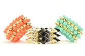 Close up on a three bracelets with spikes — Foto Stock