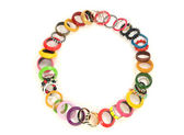 Close up on many colorful bracelets,fashionable with different jewelery forming a circle — Stock Photo