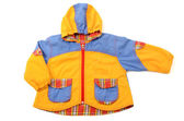 Close up on a newborn baby jacket, baby small colored coat — Stock Photo