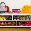 Lots of colorful summer accessories on a shelf. — Stock Photo #47755819