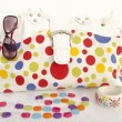 Big colorful polka dots bag with cute matching accessories. — Stock Photo #47755935