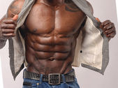 Close up on perfect abs. Strong bodybuilder with six pack — Stock Photo