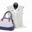 Black and white blouse on mannequin with matching accessories. Elegant blouse on tailor's dummy with matching colorful blue purse and white necklace — Stock Photo #50026849