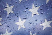 Rain on the American Flag — Stockfoto