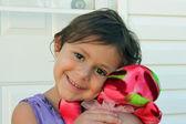 Young Girl with Her Stuffed Animal — Stock Photo