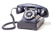 Vintage Black Corded Telephone — Stock Photo