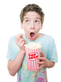 Boy at the movies — Stock Photo