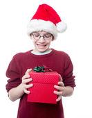 Teen recevant un cadeau de noël — Photo