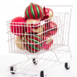 Christmas Shopping Cart full of decorations — Stock Photo