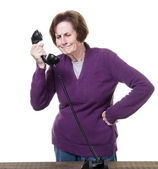 Older Woman Getting a Telephone Sales call — Stock Photo