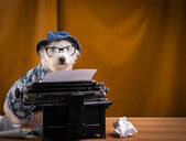 Journalist Dog at the Typewriter — Stock Photo