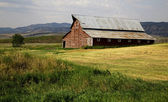 Western Barn and fields — Stock Photo