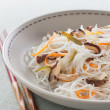 Rice noodles with vegetables, mushrooms and meat — Stock Photo #12208985